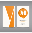 Business card template letter M vector image