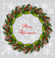 christmas fir and holly tree wreat vector image