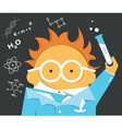 Crazy scientist in glasses with a bulb vector image