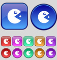 pac man icon sign A set of twelve vintage buttons vector image