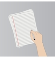 Hand with pen writing on a paper vector image vector image