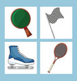 set sport equipment icon vector image