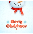 Snowman wearing scarf in Christmas Card vector image vector image