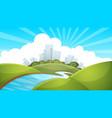 Landscape city river cloud sun vector image