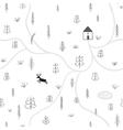 treesdeer house seamless pattern vector image vector image