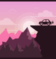 beautiful pink landscapeactus - flat vector image