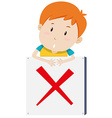 Boy with the sign vector image