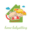 Home babysitter concept with funny boy and girl vector image