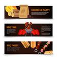 horizontal banners barbecue hamburgers and vector image