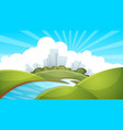 landscape city river cloud sun vector image