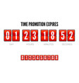 promotions expires analog flip clock timer vector image
