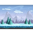 Seamless cartoon winter landscape background vector image