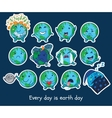 Stickers set of cute cartoon globes with different vector image