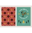 Trendy Holiday postcard Merry Christmas and Happy vector image