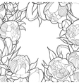 Floral black and white frame vector image vector image