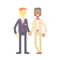 Wedding couple cute flat characters grooms vector