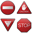 Stop Caution Yield Do Not Enter Signs vector image vector image