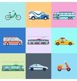 Urban city vehicles icon set vector image