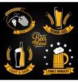 beer glass bottle label set vector image