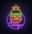 burger neon sign neon sign burger cafe logo vector image