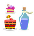 Eat me cake Drink Me potion Set meal for Alice in vector image