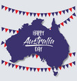 happy australia day poster with australia map and vector image