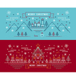 Merry christmas outline linear city winter banner vector image