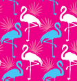 Seamless pink pattern with flamingo vector image