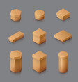 set of isometric carton packaging box 3d vector image