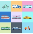 Urban city vehicles icon set vector image