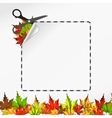 Scissors cut sticker Autumn leaf vector image vector image