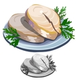 Delicious fish steak with salad on a plate vector image