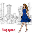 woman on orchard road in singapore vector image