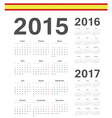 Set of Spanish 2015 2016 2017 year calendars vector image