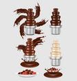 chocolate fountain machine icon set vector image