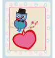 Cute owl sitting on the tree branch Valentines day vector image