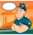 policeman on a street background vector image
