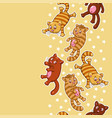 seamless pattern with funny cartoon cats vector image
