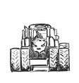 sketch of tractor hand drawn agricultural vector image