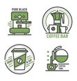 Coffee monogram logo badge vector image