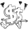 doodle squish dollar symbol vector image vector image