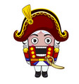 nutcracker toy in red suit isolated vector image