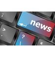 News text on a button keyboard keys keyboard vector image