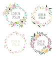 a floral wreath set with signatures vector image
