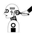humanoid robot profile with wrench and hand vector image