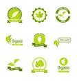 Natural eco and organic products logos vector image