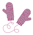 Pair of knitted mittens Winter accessory vector image