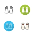 Salt and pepper shakers flat design linear and vector image