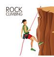 scene man mountain descent rock climbing vector image
