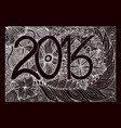 zentangl flowers hand draw numbers in 2016 vector image